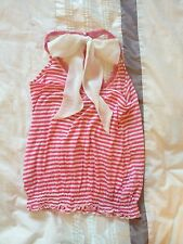 Ladies Pink White Stripey Top Size 8 - Summer Beach Stretch Party Strappy Bow