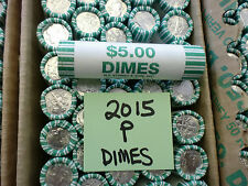 2015 P BU ROOSEVELT DIME BANK WRAPPED ROLL  FREE SHIPPING IN THE USA