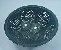 Vintage Mottled Black 3-Toed Enamel Speckled Graniteware Colander Strainer