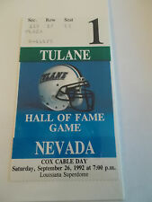 1992 Tulane Green Wave Nevada University Hall of Fame Game Ticket Stub SK3
