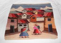 "Vintage Peruvian Sheeps Wool Folk Art Woven Tapestry Wall Hanging 35"" x 36"""