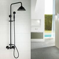 Black Wall Mount Bathroom 8' Rainfall 3 Function Shower Mixer Faucet Hand Shower
