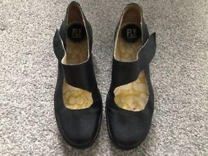 Fly London black leather Mary Jane wedges Yasi shoes U.K. 7 EU 40
