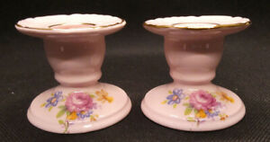 Two Adderley Floral Pink Candle Holders