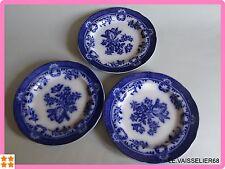 3 ANCIENNES ASSIETTES A DESSERT ANGLAIS  FAIENCE 19 EME COPELAND FLOW BLUE