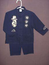 100% Silk Asian Shirt Pant Kung Fu Costume Toddler Size 2 Dark Blue Gold Dragon