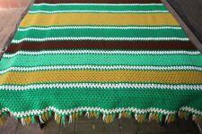 Vintage Handmade Crochet Afghan/Throw Large Stripes Green Brown Gold White