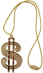 Dollar Medallion Necklace Bling 70s Pimp Rapper Ali G Rapper Chav Fancy Dress
