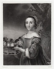 "1800s FERDINAND BOL Engraving ""Dutch Girl with Fruit Basket"" Framed SIGNED COA"