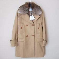 Vince Fur Collar Wool Blend Coat, Almond Size 4, New $995