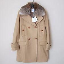 Vince Fur Collar Wool Blend Coat, Almond Size 4, New $995