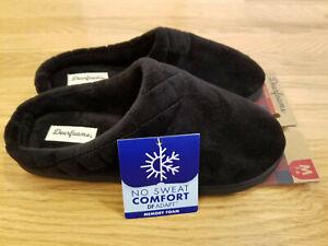 Womens Dearfoams Memory Foam Plush Soft Slippers House Shoes Clogs Black M 7/8
