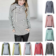 Long Sleeve Women's Colors Spring Autumn Casual Striped Stitching Hoodie Sweater