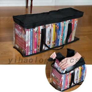 Large Clear Removable Bookshelf Book Tote Bag DVD CD Storage Easy Zip Carry Bag