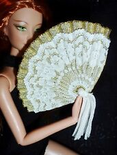 ACCESSORY ~ BARBIE DOLL MINI EMPRESS SISSY GOLD WHITE LACE FAN FOR DIORAMA