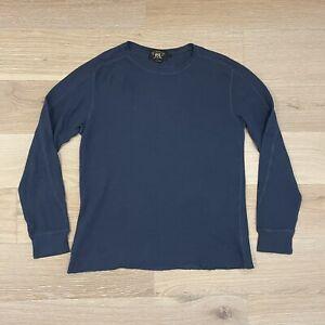 RRL Double RL Waffle Crewneck Thermal Shirt Indigo Navy Blue L Large