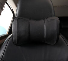2 Pcs Genuine Leather Black Neck Rest Headrest Pillow Cushion Mat For Car Truck