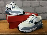 NIKE UK 7.5 EU 25 AIR MAX 90 WHITE GREY BLACK LEATHER TRAINERS CHILDRENS LB
