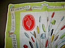 Vintage Novelty Ladies Handkerchief Sewing thread Thimble Spools German Fcb1809