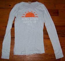 Women's Juniors HOLLISTER Light Gray White Orange Cotton SunSet Shirt Size Small