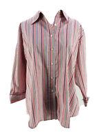 Lands' End Women's Pink Cotton Blend Striped 3/4 Sleeve Button-Down Shirt 16