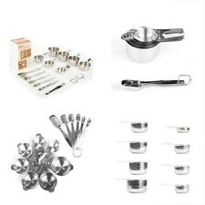 Stainless Steel Measuring Cups And Spoons Set 13 Piece 7 Metal 6 1/8 Coffee Dry