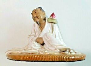 Chinese Mud Man Figure Seated Man Scholar Reader Flower in Hand Marked 456