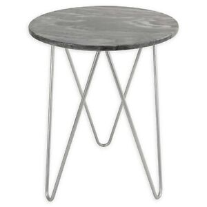 O&O by Olivia & Oliver Round Marble/Steel Side Table in Silver / NEW OPEN BOX