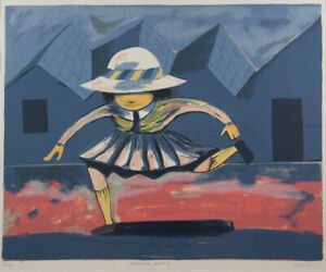 Charles BLACKMAN Schoolgirl Jumping - Original *RARE* Signed, Framed Screenprint