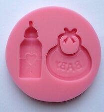 Baby Bib Bottle Soft Silicone Mold Fondant Mat Cake Decorating Cupcake Design