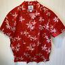 28 Palms Men's Size 4XL Hawaiian Shirt Red White Floral Tropical Cotton Buttoned