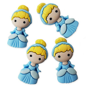 4pcs Blue Princess Girls Resin Flatback Cabochons Embellishment Decoden Craft