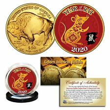 2020 Lunar New YEAR OF THE RAT 24K Gold Clad $50 American Buffalo Tribute Coin