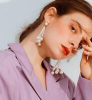 Fashion Women tassels pearl Earrings Stud Drop Dangle Party Jewelry Earring