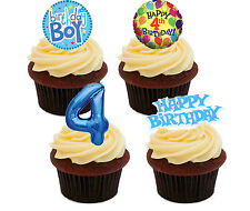 4th Birthday Boy Edible Cupcake Toppers Standup Fairy Cake Bun Decorations Blue