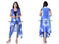 Women's Tie Dye Loose Blouse Summer Blue Cotton Shawl Kimono Long Cardigan Tops