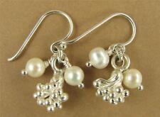 Pearl & silver cluster earrings. Fine silver charm. Sterling silver hooks 92.5