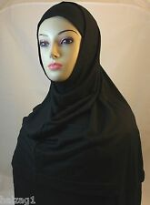 New Two Piece Egyptian Cotton Hijab Amira Islamic Head Scarf Hejab - Black Color
