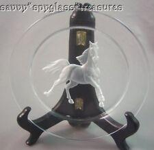 Hoya Crystal Intaglio Prancing Horse Glass Plate