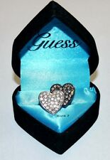 GUESS Womens Double Heart Crystal Ring Sz 7 NWT **