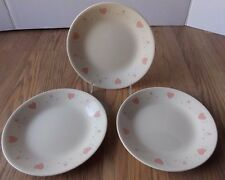 3 Corelle by Corning Forever Yours Beige with Pink Hearts Dessert/Bread  Plates