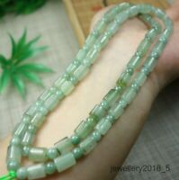 Certified Icy Light Green 100% natural A jadeite jade Bead Necklace 项链 23inches