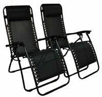 2 x Heavy Duty Textoline Zero Gravity Reclining Garden Sun Lounger Chairs Black