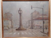 Tableau peinture Pierre Jean CHAFFREY place Vauboin Horloge Tassin la Demi Lune