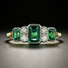 Vintage 3.25 Ct Emerald and Diamond Cluster Art Deco Ring 18K Yellow Gold Finish