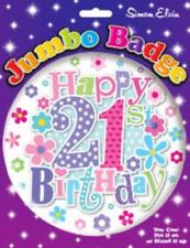 Happy 21st Birthday Badge Age 21 Jumbo Large Girls Ladies Party Accessory Gift