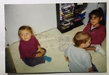Vintage PHOTO Kids Playing Drawing On Kitchen Floor