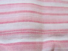 PINK vtg 80s stripe apparel cotton fabric silver metallic thread BTHY half yard