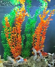 "4 X Plant ~ 50cm | 20"" Tall Orange & Green Plastic Aquarium Plants Tank Decor"