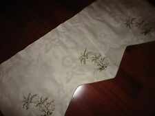 EMBROIDERED PALM TREE CREAM GREEN FLORAL LINED SCALLOPED VALANCE 18 X 44